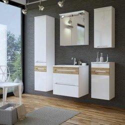 Białe meble łazienkowe w połysku Galaxy White 80 cm
