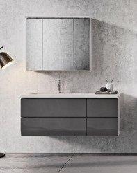 Oristo Szafki z umywalką 125 cm i szafką z lustrem BRYLANT grafitowe L