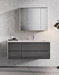Oristo Szafki z umywalką 125 cm i szafką z lustrem BRYLANT grafitowe P