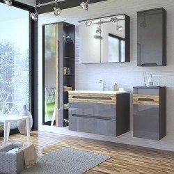 Szare meble łazienkowe z dużym lustrem Galaxy Grafit 80 cm