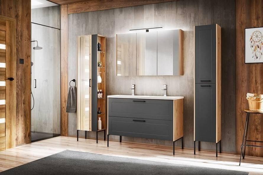 Madera Grey 821 - Szafka z umywalką 80 cm