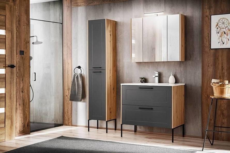 Madera Grey 821 - Szafka z umywalką 80 cm z nóżkami