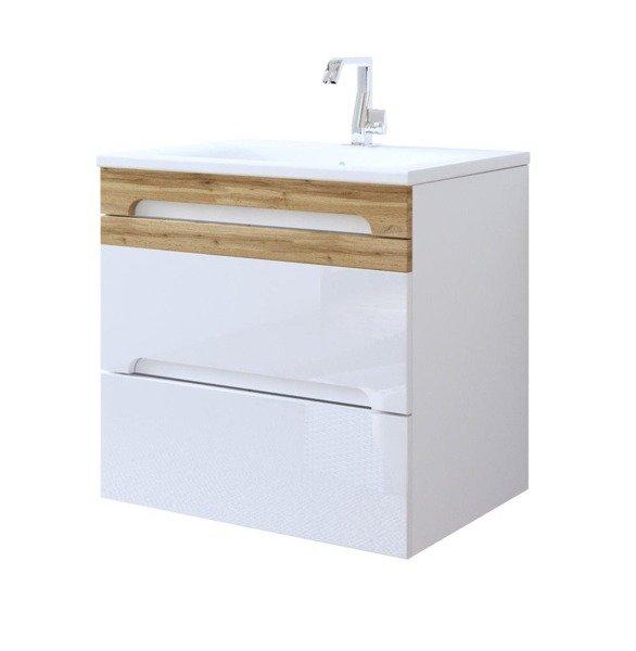 Nowoczesna szafka z umywalką 60 cm biały połysk Galaxy White