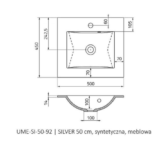 Oristo Szafka z umywalką 50 cm Silver szary mat