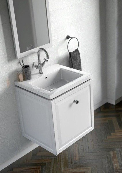 Oristo Szafka z umywalką nablatową i blatem MONTEBIANCO 80 cm biały