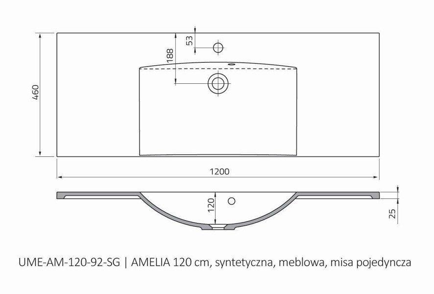 Oristo Umywalka meblowa 120 cm pojedyncza AMELIA