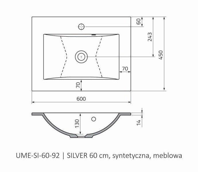 Oristo Umywalka meblowa 60 cm SILVER