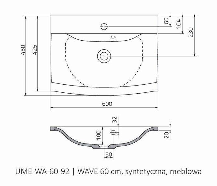 Oristo Umywalka meblowa 60 cm WAVE