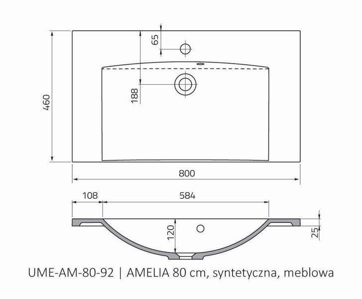 Oristo Umywalka meblowa 80 cm AMELIA