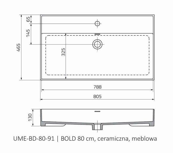 Oristo Umywalka meblowa 80 cm BOLD
