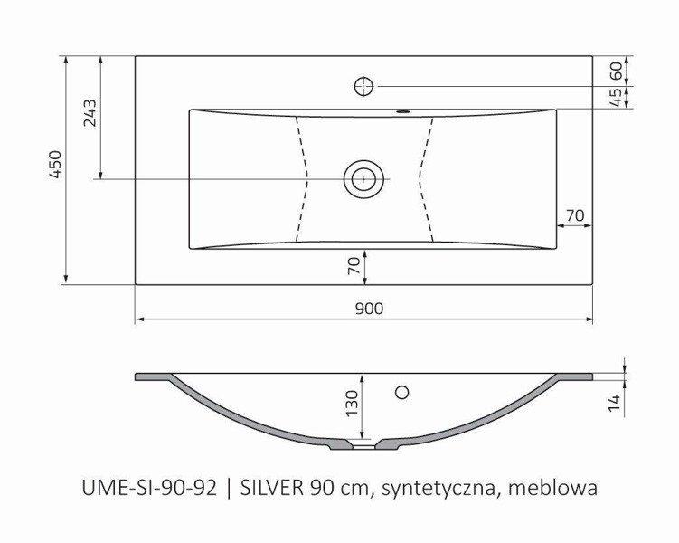 Oristo Umywalka meblowa 90 cm SILVER