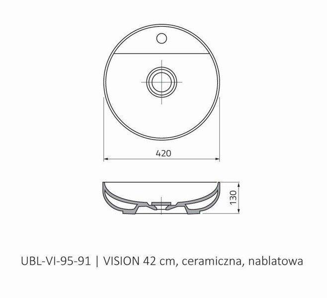 Oristo Umywalka nablatowa 45 cm VISION