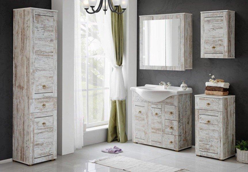 Prowansalskie meble łazienkowe z umywalką ceramiczną 85cm