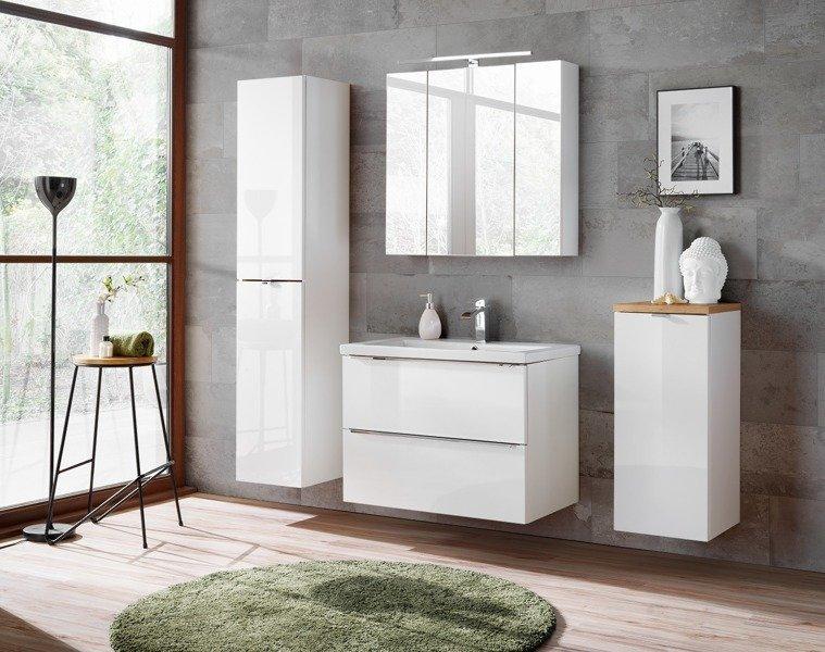 Szafka z umywalką i blatem 60 cm Capri biały 820 z blatem dębowym