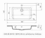Oristo Umywalka meblowa 80 cm BERYL